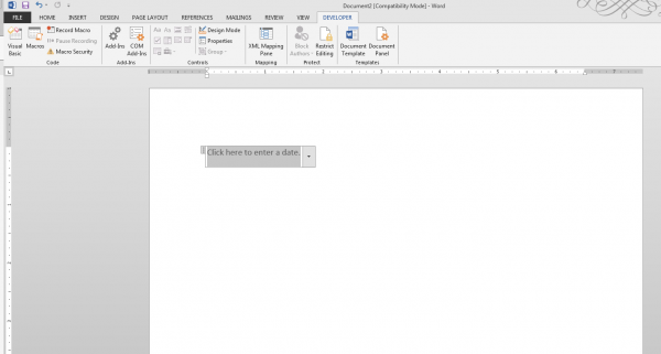 Add a Date Picker in Word