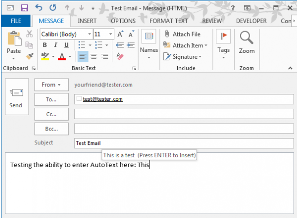 AutoText entry in Outlook