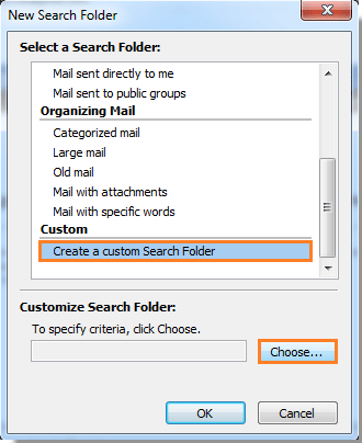 Create a custom Search Folder in Outlook